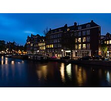 Magical Amsterdam Night - Charming Little Pink Car on the Canal Bank Photographic Print