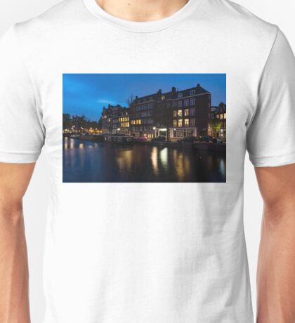 Magical Amsterdam Night - Charming Little Pink Car on the Canal Bank Unisex T-Shirt