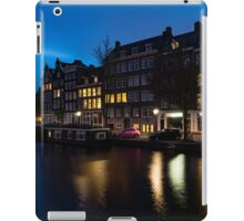 Magical Amsterdam Night - Charming Little Pink Car on the Canal Bank iPad Case/Skin