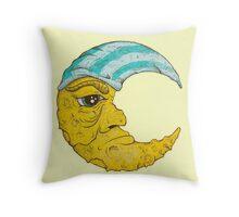Old Man Moon Throw Pillow