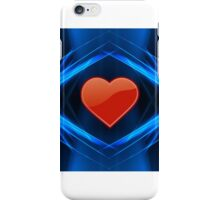Cool blue abstract image with red love heart iPhone Case/Skin
