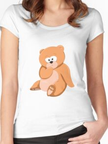 Cute Bear Relaxing Under a Tree Women's Fitted Scoop T-Shirt