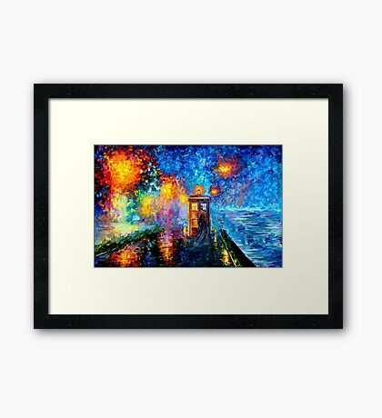 Time Traveller lost in the strange city art painting Framed Print
