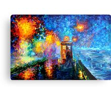 Time Traveller lost in the strange city art painting Metal Print