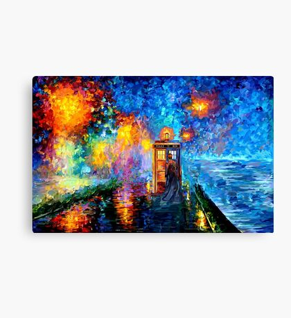 Time Traveller lost in the strange city art painting Canvas Print