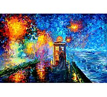 Time Traveller lost in the strange city art painting Photographic Print