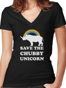 Save The Chubby Unicorn Women's Fitted V-Neck T-Shirt
