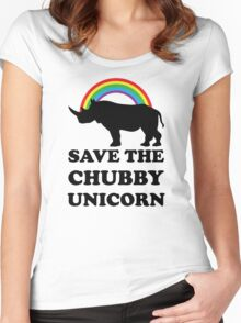Save The Chubby Unicorn, Funny Rhino Women's Fitted Scoop T-Shirt