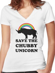Save The Chubby Unicorn, Funny Rhino Women's Fitted V-Neck T-Shirt