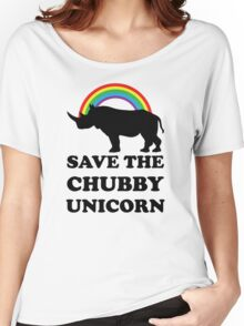 Save The Chubby Unicorn, Funny Rhino Women's Relaxed Fit T-Shirt
