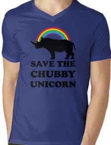 Save The Chubby Unicorn, Funny Rhino Mens V-Neck T-Shirt