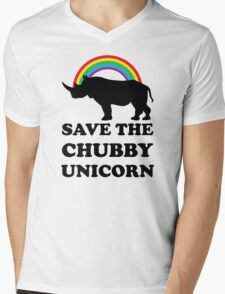 Save The Chubby Unicorn, Funny Rhino Mens V-Neck T-Shirt