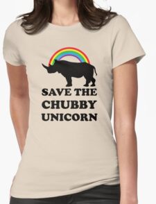 Save The Chubby Unicorn, Funny Rhino Womens Fitted T-Shirt