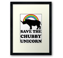Save The Chubby Unicorn, Funny Rhino Framed Print