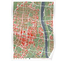 Warsaw map classic Poster