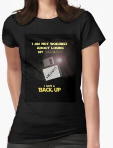 Back up virginity Womens Fitted T-Shirt