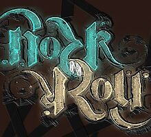 Rock 'N' Roll Ambigram - Turquoise/Stone by HeckaDoodleDo