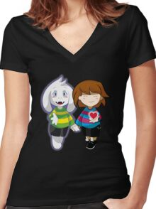 Undertale Asriel and Frisk Together  Women's Fitted V-Neck T-Shirt