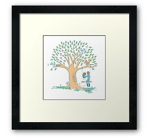 Couple in love with pretty heart tree Framed Print