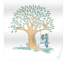 Couple in love with pretty heart tree Poster
