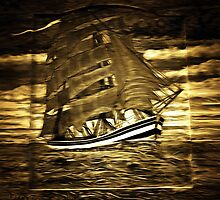 A digital painting of a A Clipper Ship on a Wooden Door by Dennis Melling