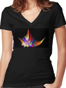 Earth Fern Women's Fitted V-Neck T-Shirt