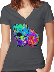Colorful Wombat Women's Fitted V-Neck T-Shirt