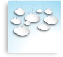 Clouds on a string in Light  Blue Canvas Print