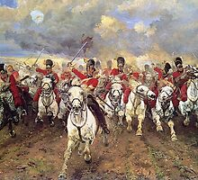 Scotland Forever! 1881, Battle of Waterloo, Lady Butler, Charge of the Royal Scots Greys by TOM HILL - Designer