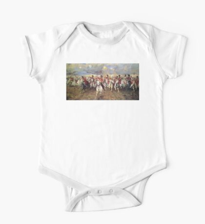 Scotland Forever! 1881, Battle of Waterloo, Lady Butler, Charge of the Royal Scots Greys One Piece - Short Sleeve
