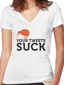 Your tweets suck! Women's Fitted V-Neck T-Shirt