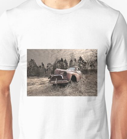 Abandoned rusted old truck in field Unisex T-Shirt