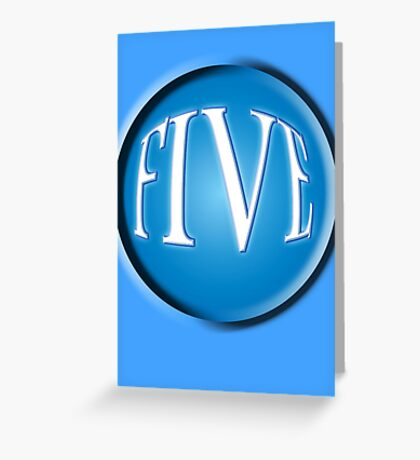 5, FIVE, BALL, FIFTH, NUMBER 5, TEAM SPORTS, Competition, BLUE Greeting Card