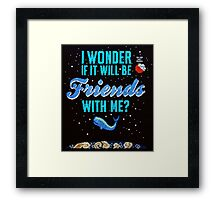 Cross stitch Space Whale  Framed Print