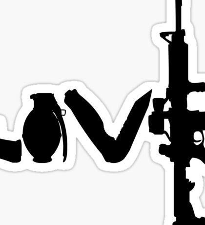 Love weapons - version 1 - black Sticker