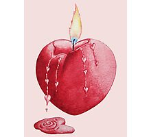 love heart shaped burning candle romantic Photographic Print
