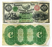 $100 (One Hundred Dollars) two-year Interest Bearing Note (1864) Poster