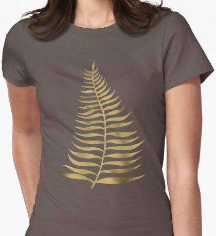 Golden Palm Leaf Womens Fitted T-Shirt