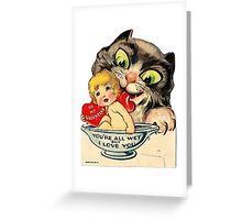 Vintage Valentine Cat Greeting Card