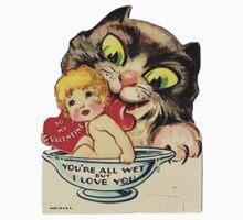 Vintage Valentine Cat Kids Tee