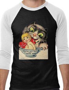 Vintage Valentine Cat Men's Baseball ¾ T-Shirt