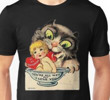Vintage Valentine Cat Unisex T-Shirt