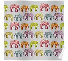 Bright Elephant Collage Pattern Poster