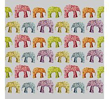 Bright Elephant Collage Pattern Photographic Print