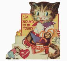 Vintage Valentine Bondage Cat One Piece - Short Sleeve