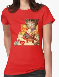 Vintage Valentine Bondage Cat Womens Fitted T-Shirt