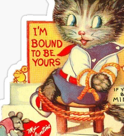 Vintage Valentine Bondage Cat Sticker