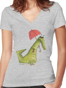 Crocodile fashion Women's Fitted V-Neck T-Shirt