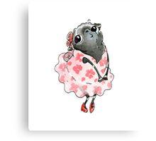 Lil Cherry Blossom Black Pug Canvas Print