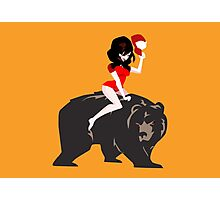 A girl and her MURDER BEAR! Photographic Print